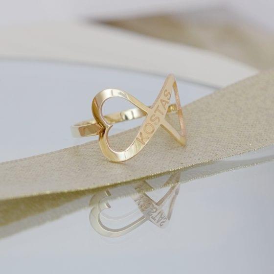 Inel cu infinit gravat cu nume din aur galben alb sau roz 14K