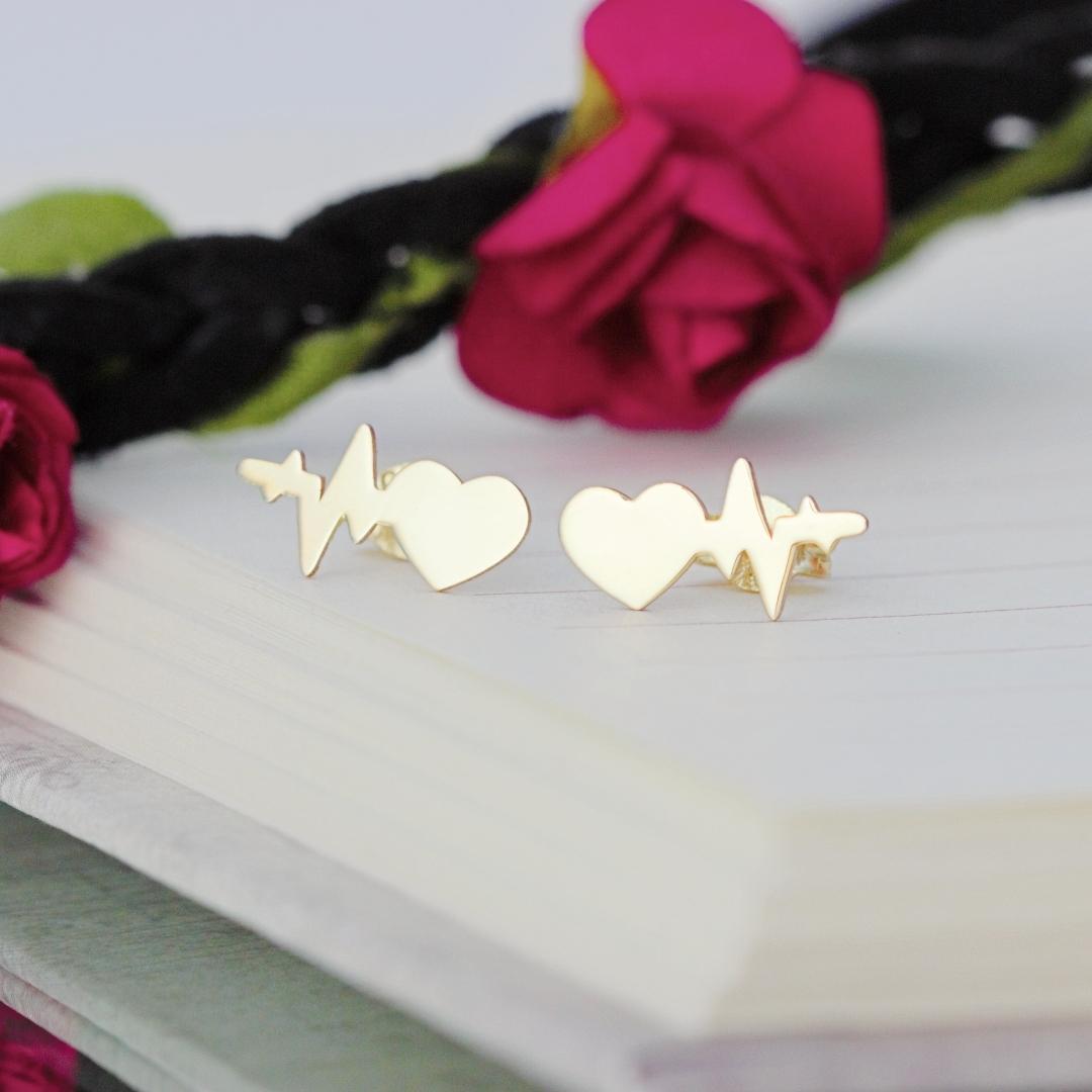 Cercei cu puls si inima – aur galben, alb sau roz 14K