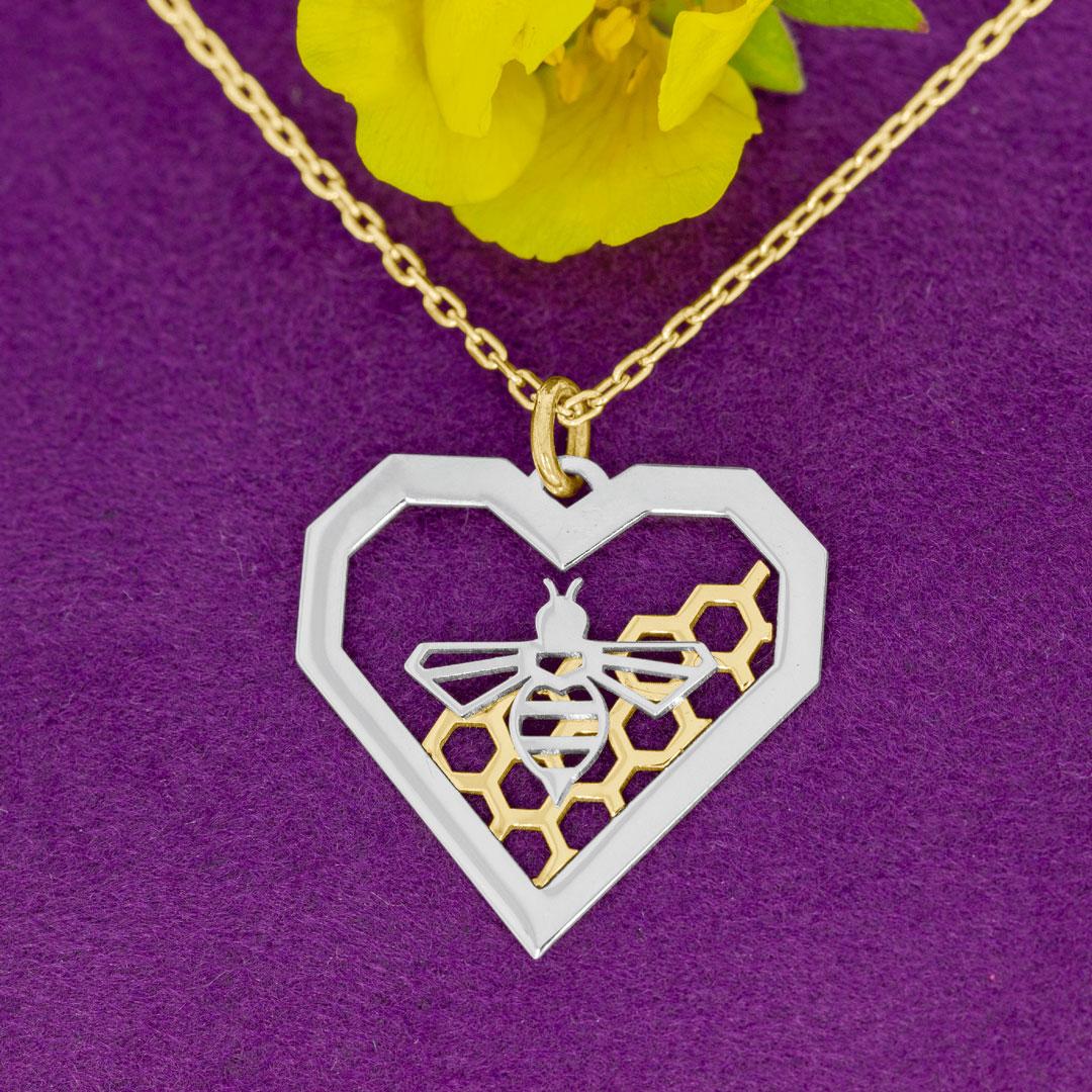 Colier model albina in inima, din aur 14K