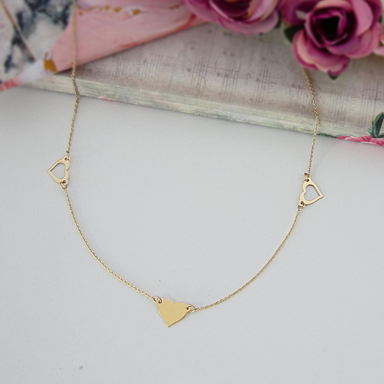 Colier cu trei inimi din aur galben, alb sau roz de 14K