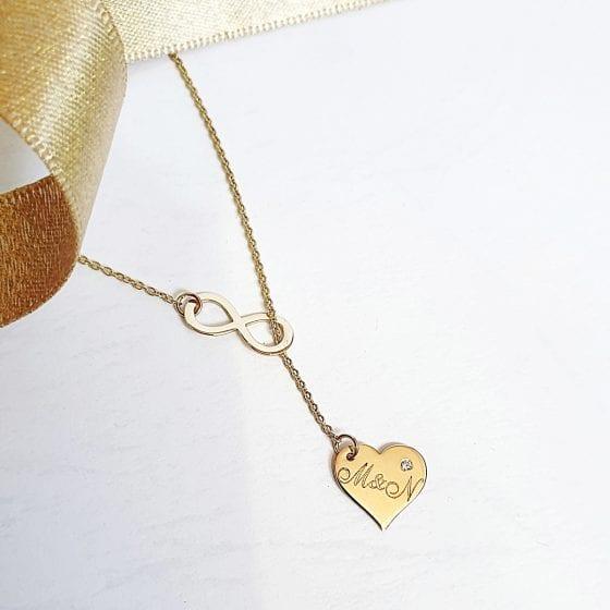 Colier cu infinit si inimioara gravata – aur galben, alb sau roz de 14K