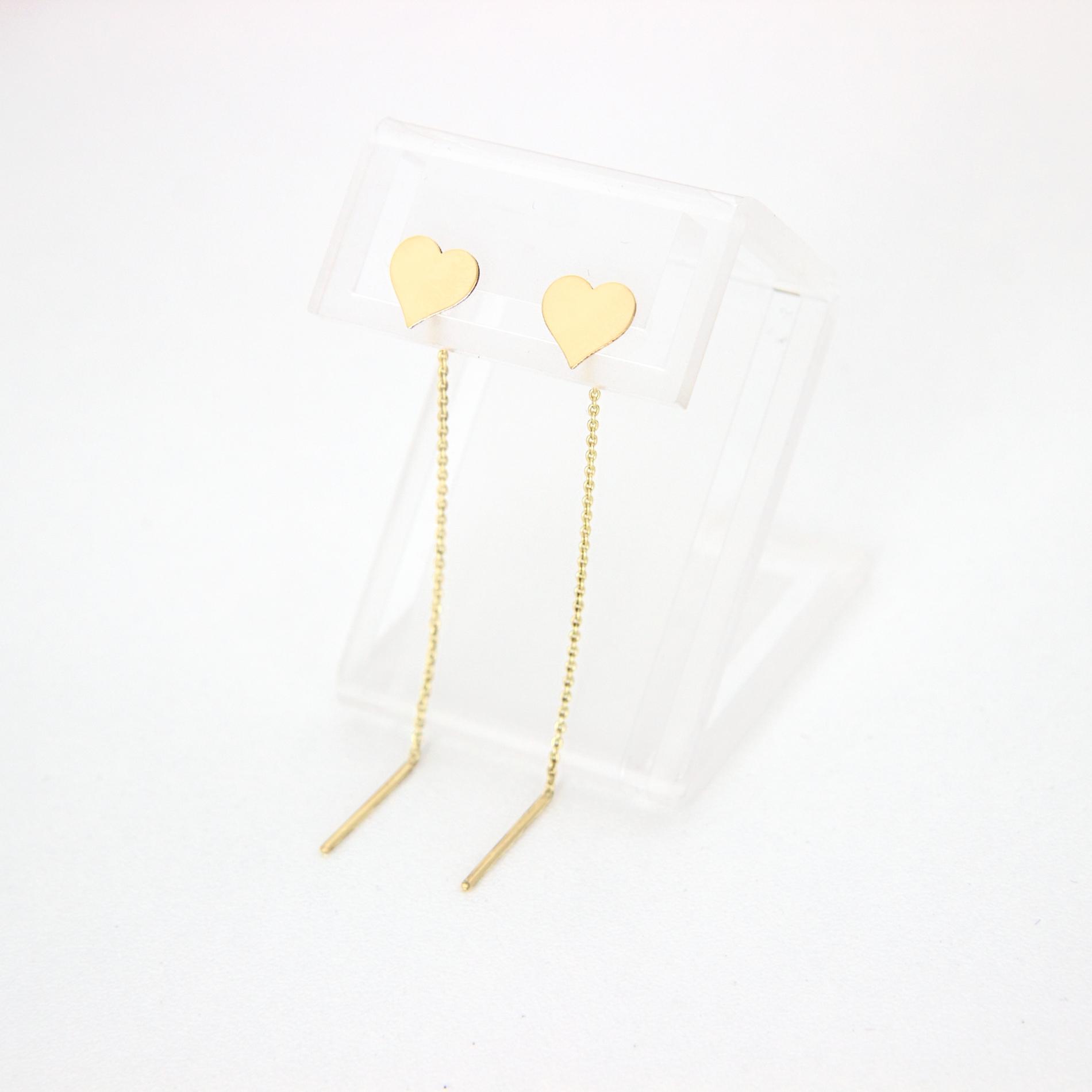 Cercei lungi cu lant model inima aur 14K pentru dama