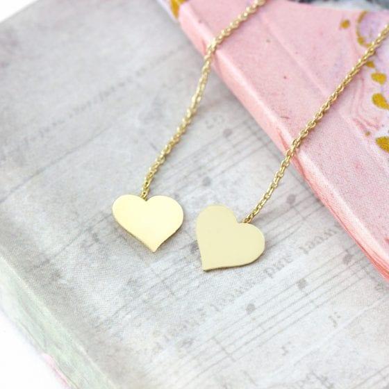 Cercei cu inimioare – lungi cu lant – din aur 14K, pentru dama