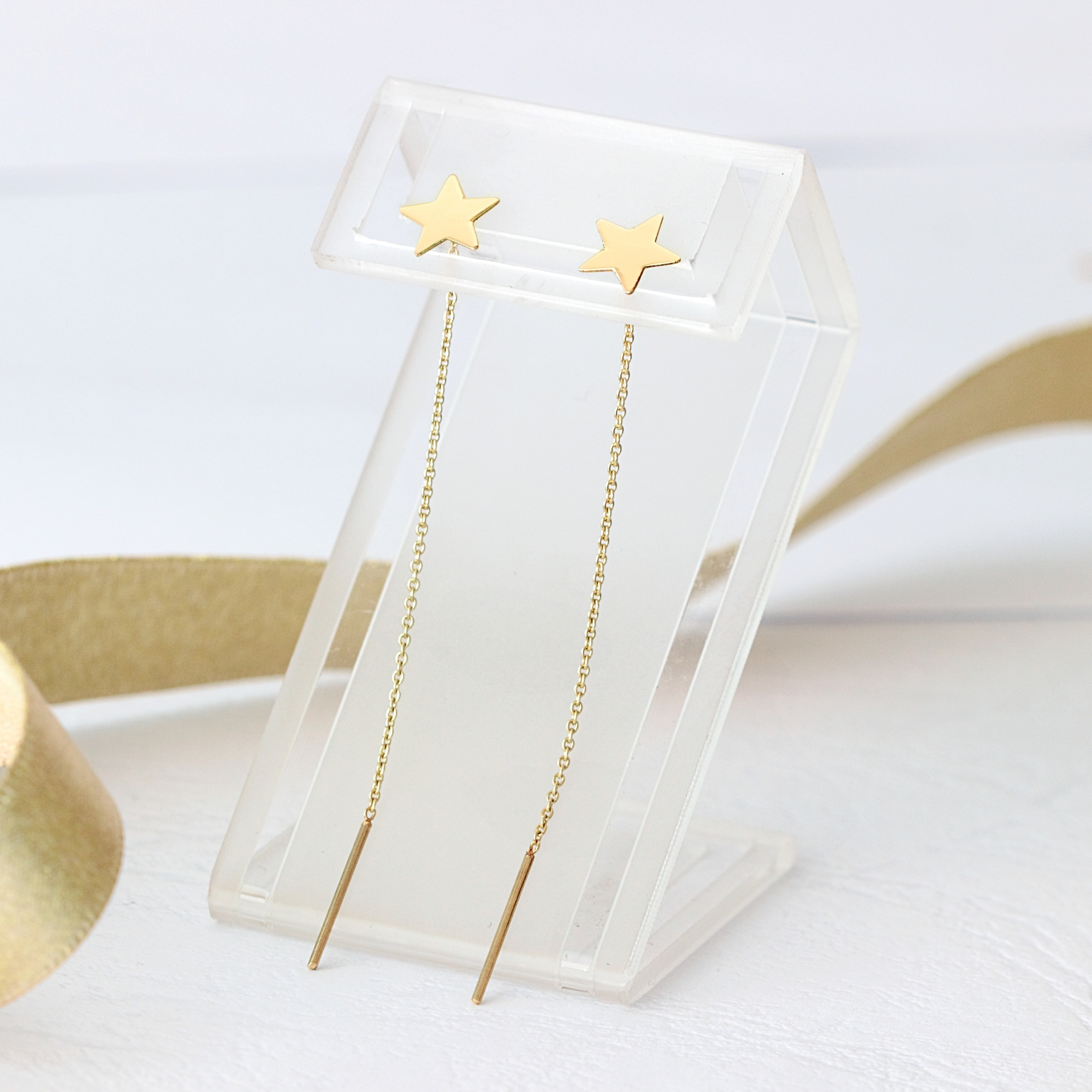 Cercei stelute – cu lant – din aur galben, alb sau roz de 14K