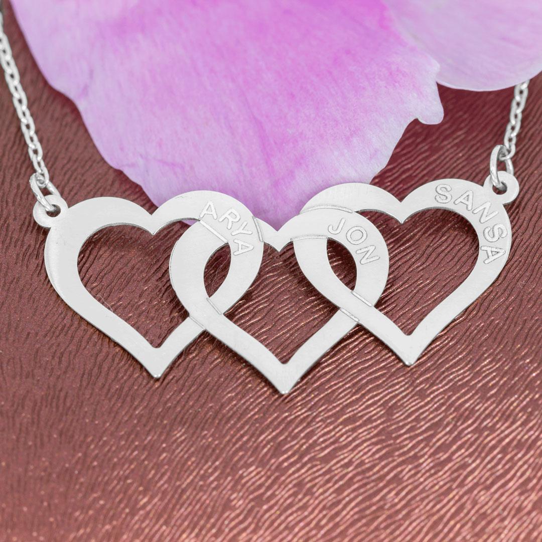 Colier cu inimi personalizate cu nume, din argint 925