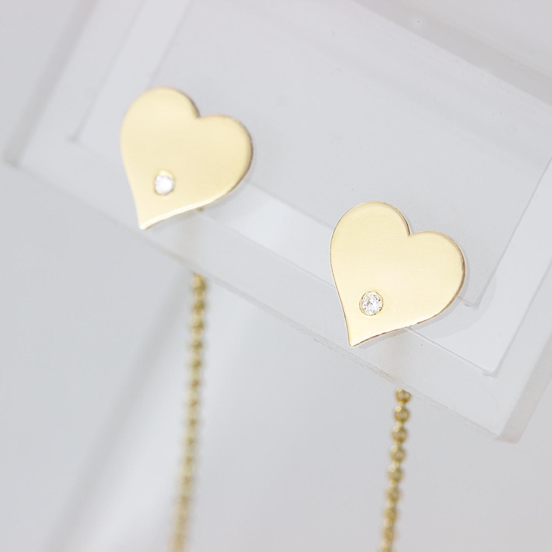 Cercei din aur 14K – lant si inima cu diamante transparente
