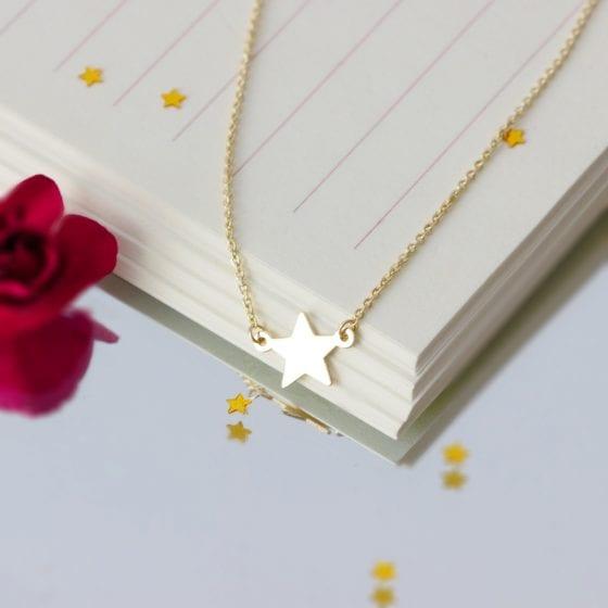 Colier cu steluta – finisaj lucios – aur galben, alb sau roz de 14K