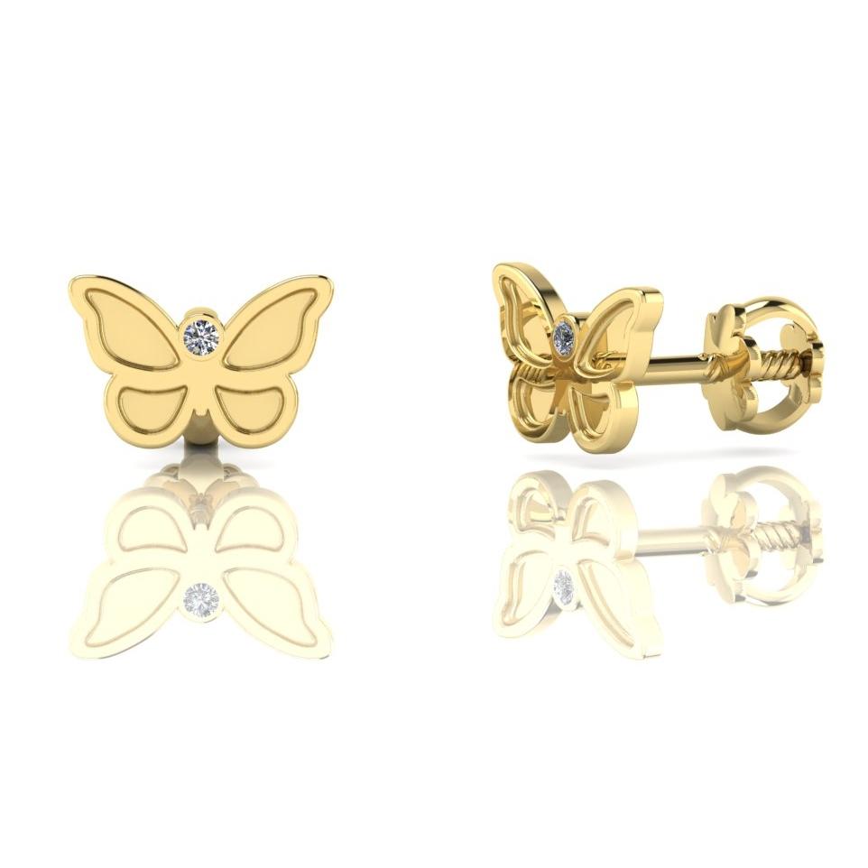 Cercei cu fluturas si diamante – din aur 14k –  pentre bebe sau fetite