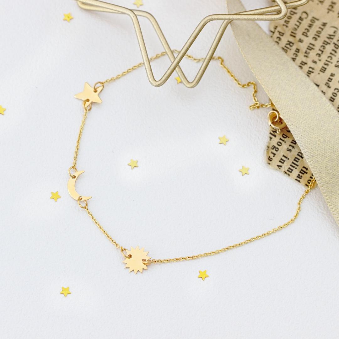 Bratara cu steluta, semiluna si soare – din aur 14k – cu lant dama 16-18 cm