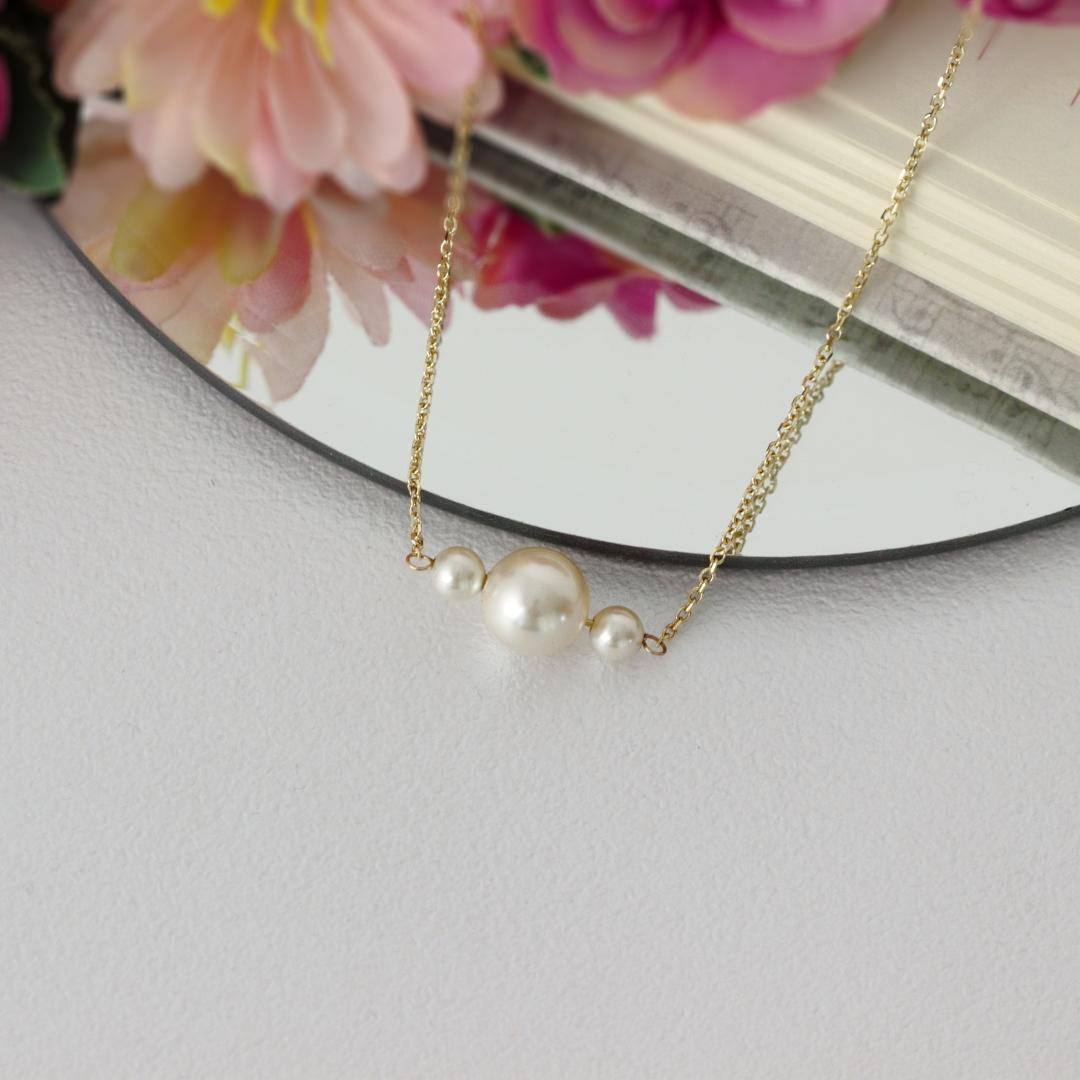Colier cu perle swarovski creamrose – colier aur galben, alb sau roz de 14k