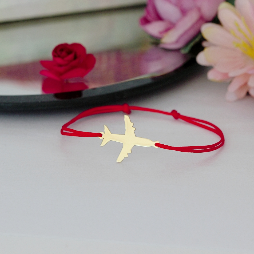Bratara cu avion – din aur galben, alb sau roz 14k – cu snur reglabil