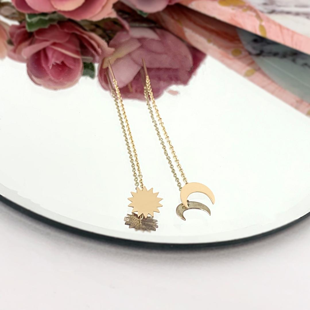 Cercei semiluna si soare – cu lant -din aur 14k – pentru dama