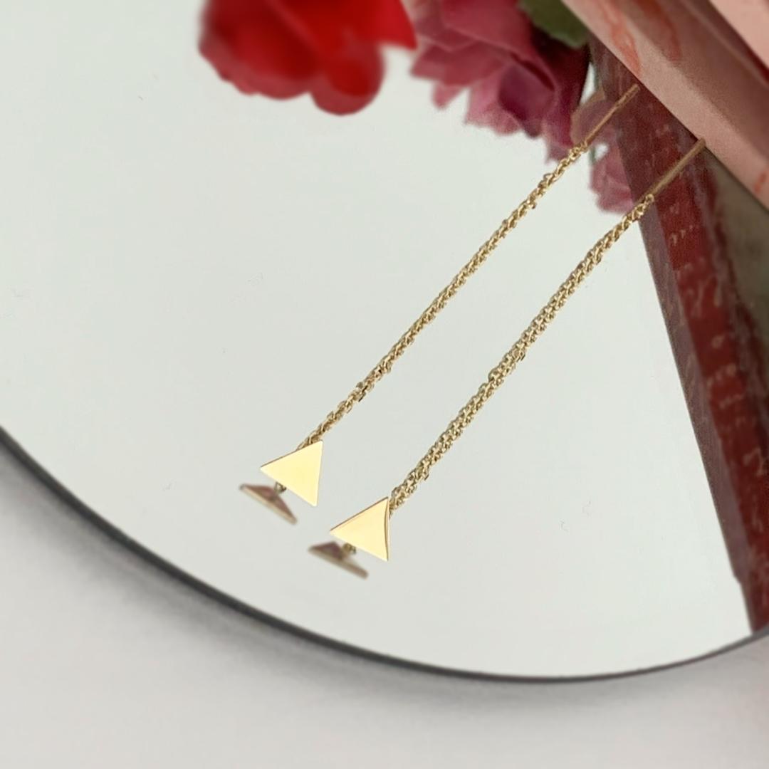 Cercei triunghi – cu lant – din aur galben alb sau roze 14K