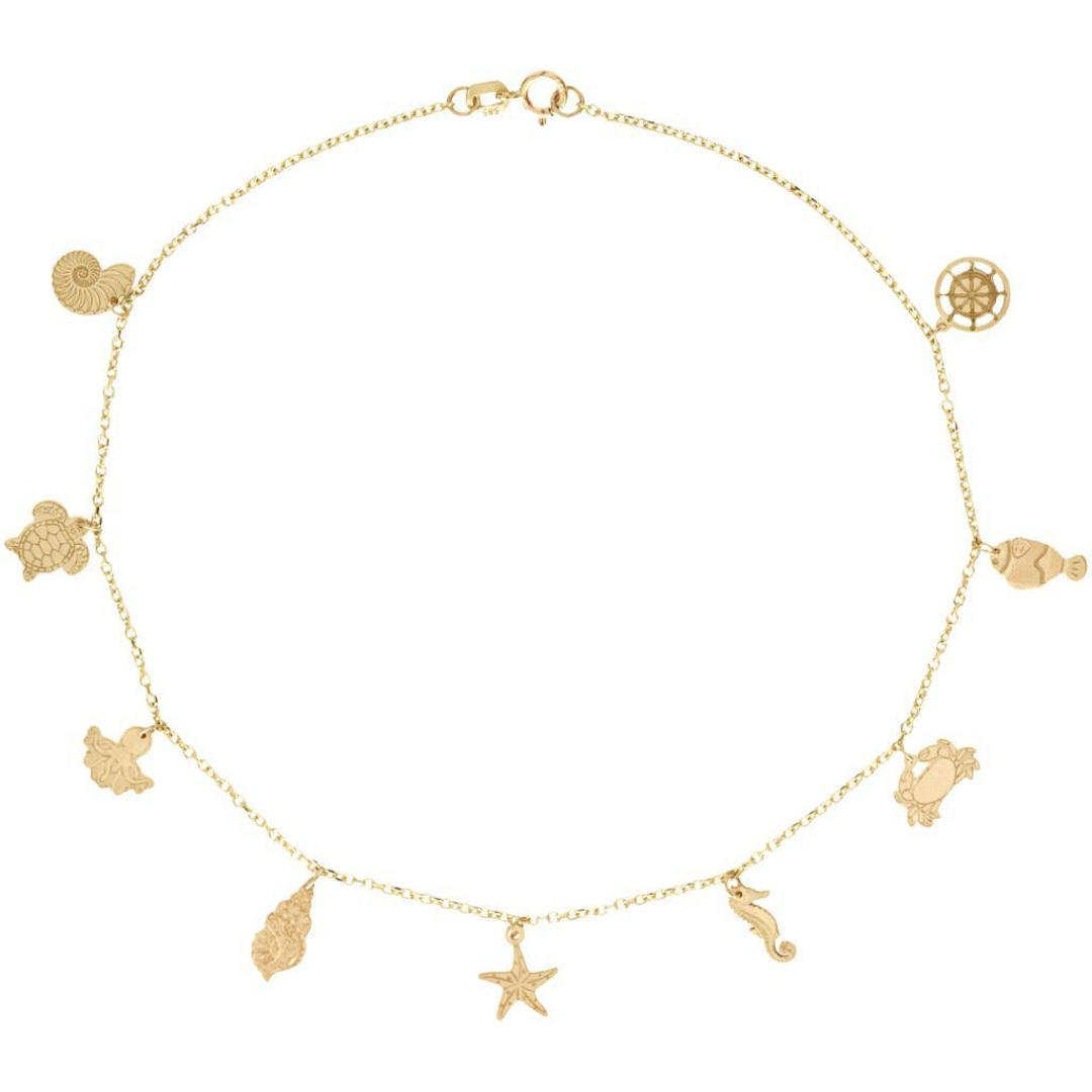Bratara pentru glezna cu elemente marine – aur galben alb sau roze 14K