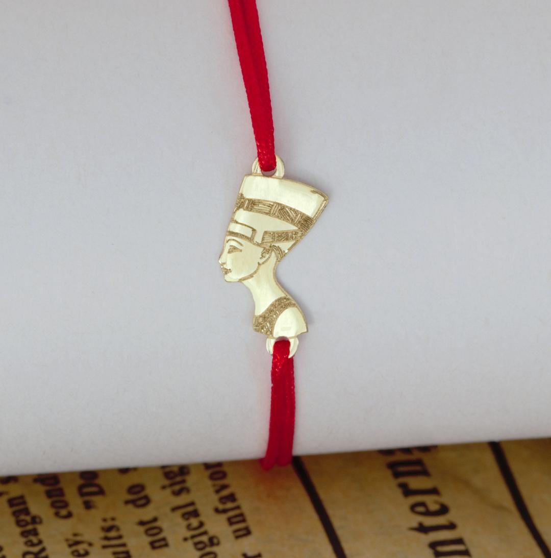 Bratara cu simbol egiptean nefertiti din aur 14K si snur reglabil