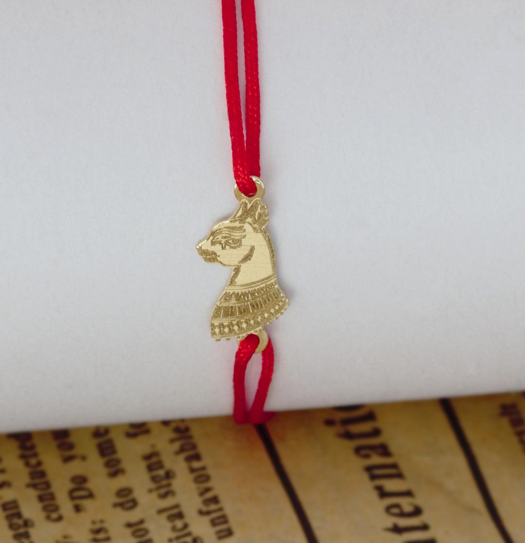 Bratara cu Pisica Sfinx egipt-din aur 14k si snur  reglabil