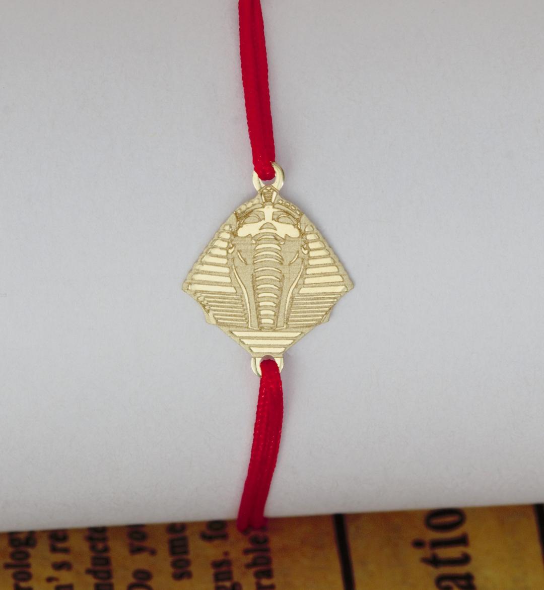 Bratara din aur 14k si simbol egipt faraon – cu snur reglabil