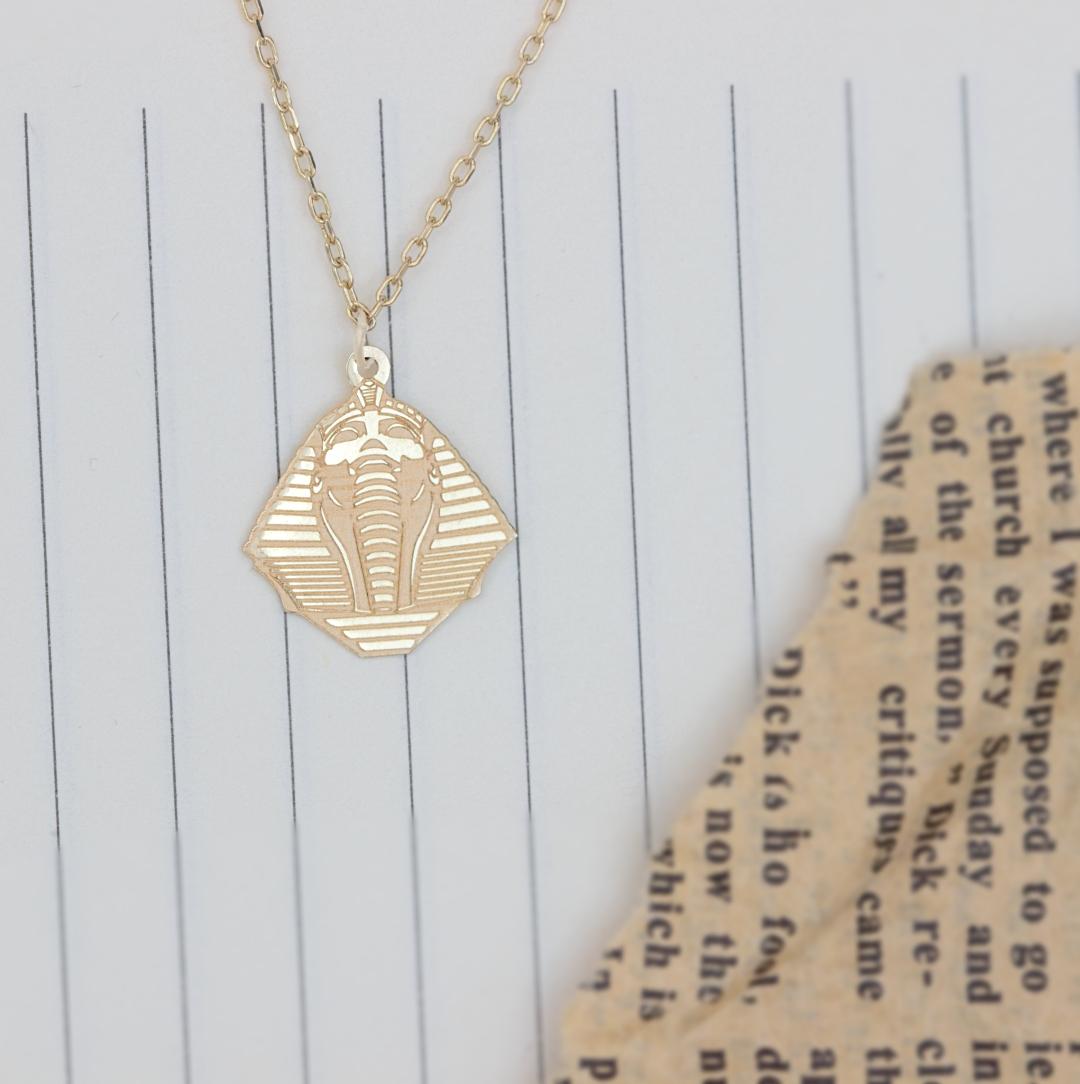 Colier cu simbol egiptean faraon – aur galben alb sau roze 14K