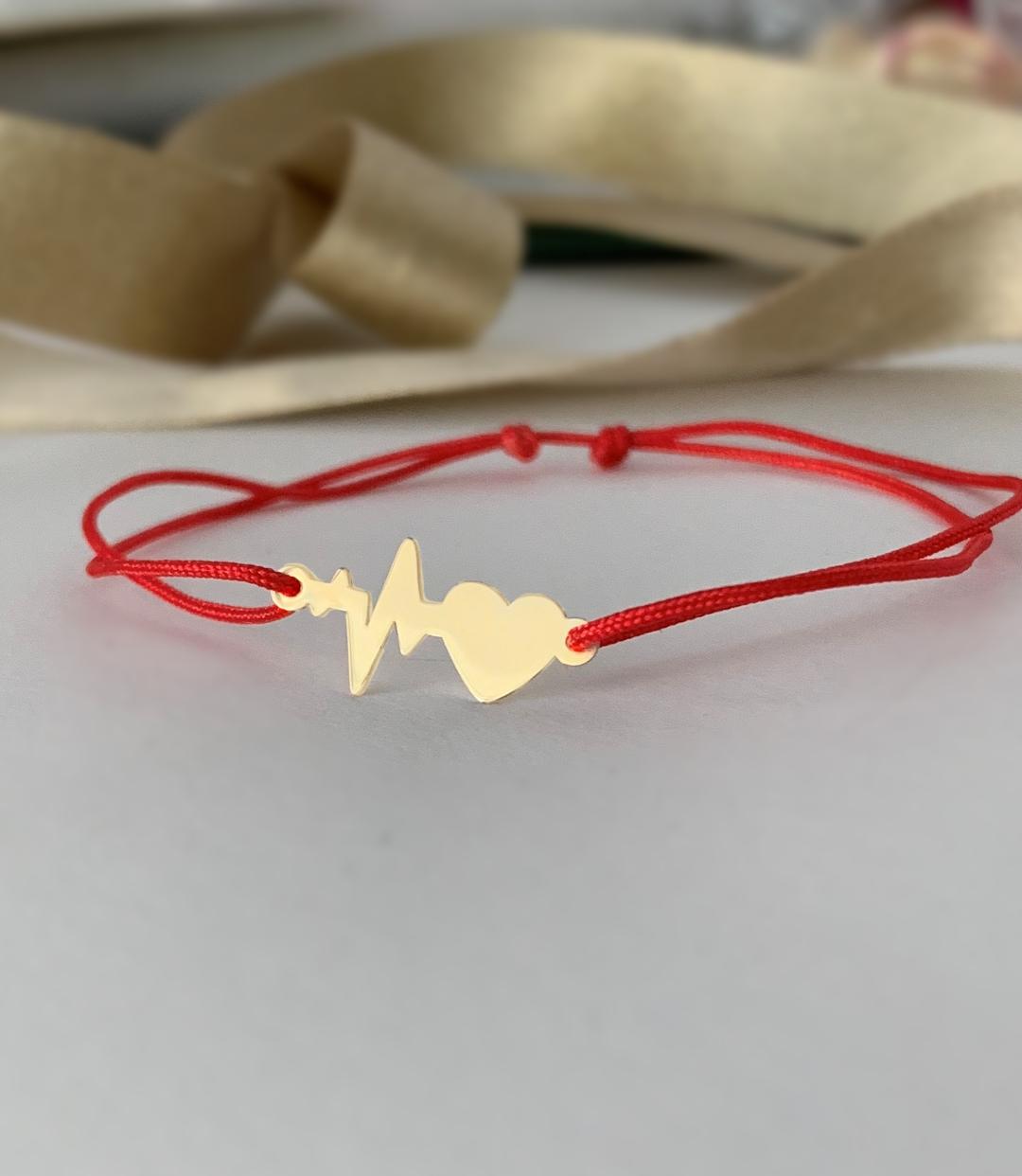 Bratara cu puls si inima – aur galben alb sau roze 14k